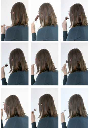 stills of the video sequence: Portrait of a Couple #2, 2012 / Two persons are arranged in front of the camera to appear as one. Here SHE overlaps HIM with her hair and body. HIS face can be seen in action eating ice cream that she serves him. Played in Loop